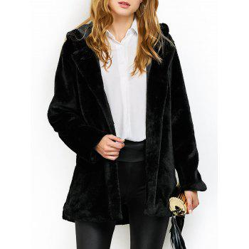 Hooded Fuzzy Faux Fur Coat