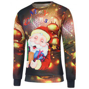 Santa Claus Printed Crew Neck Christmas Sweatshirt