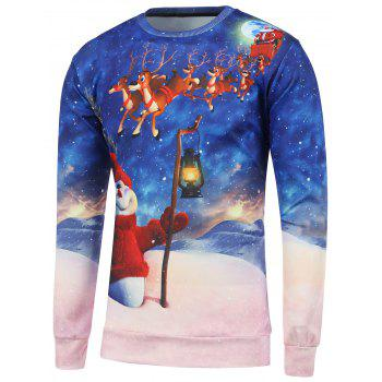 Buy 3D Printed Crew Neck Christmas Sweatshirt BLUE