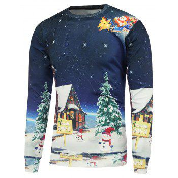 Buy Cartoon Printed Crew Neck Christmas Sweatshirt DEEP BLUE