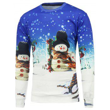 Buy Snowman 3D Printed Crew Neck Christmas Sweatshirt BLUE/WHITE