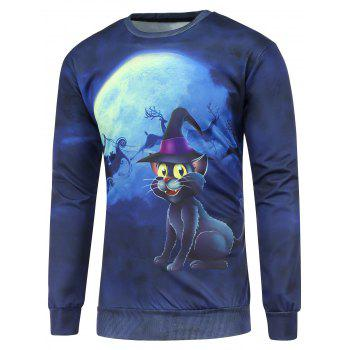 3D Cat Printed Crew Neck Christmas Sweatshirt