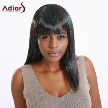 Attractive Women's Medium Straight Full Bang Black Synthetic Hair Wig - BLACK