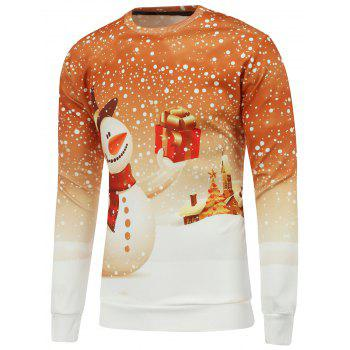 Buy 3D Snowman Printed Crew Neck Christmas Sweatshirt YELLOW