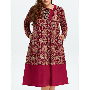 Tribal Print Panel Linen Dress