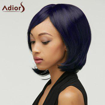 Straight Adiors Short Shaggy Oblique Bang Synthetic Wig - PURPLISH BLUE