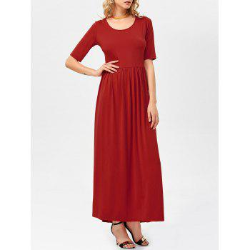 Half Sleeve High Waist Pleated Maxi Dress