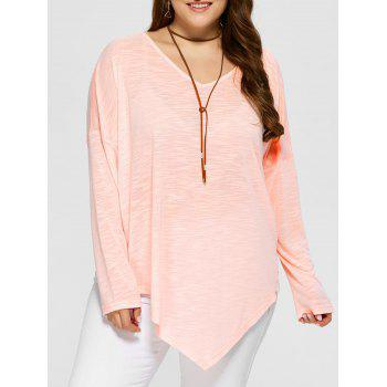 Plus Size Lace Trim Asymmetrical T-Shirt