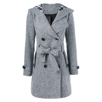 Hooded Wrap Belted Double Breasted Coat