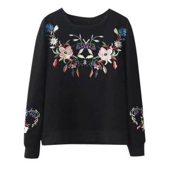 Crew Neck Floral Embroidery Sweatshirt