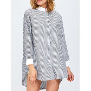 High Low Pinstriped Tunic Shirt Dress