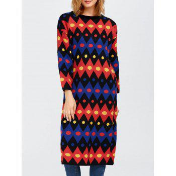 Color Block Midi Shift Sweater Dress
