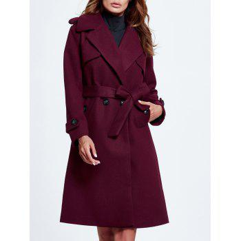 Lapel Double Breasted Belted Wool Blend Coat