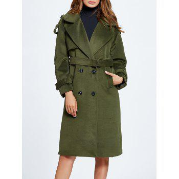 Lapel Belted Double Breasted Wool Blend Coat