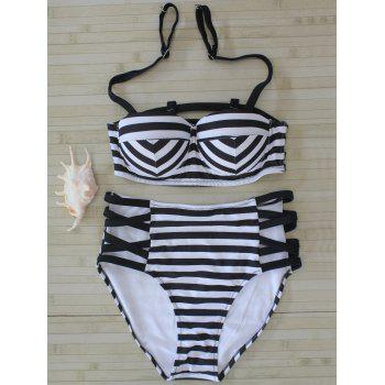 High Waist Striped Strappy Bikini Set