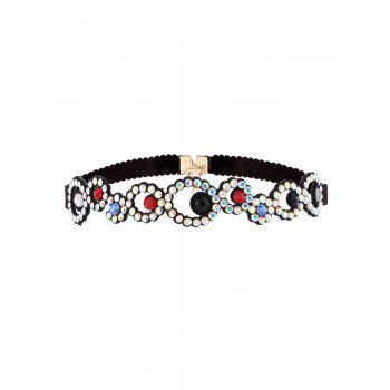 Rhinestoned Floral Pattern Choker Necklace