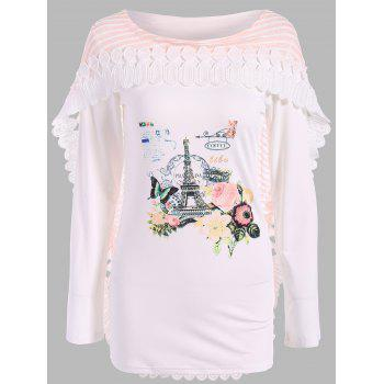 Graphic Lace Panel Cape T-Shirt