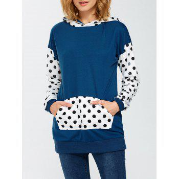 Panel Polka Dot Hoodie With Pocket