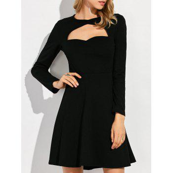 Keyhole Cut Out Knee Length A Line Dress