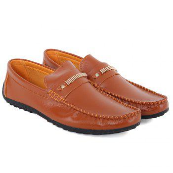 Stylish Stitching and Metal Design Men's Casual Shoes - BROWN 41