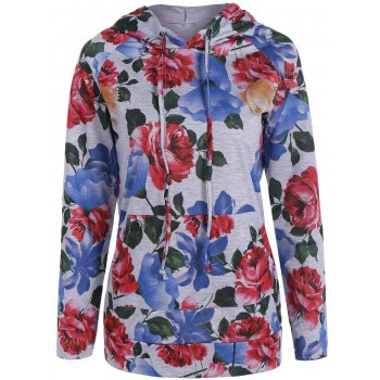 Flower Printed Drawstring Kangaroo Pocket Hoodie