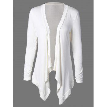 Collarless Asymmetric Drape Long Cardigan