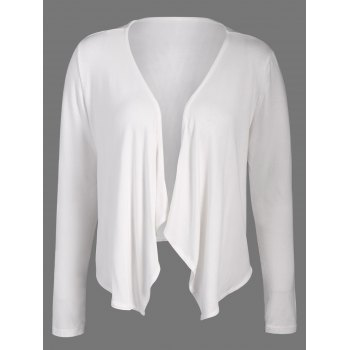 Short Collarless Drape Cardigan