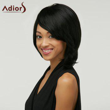 Short Adiors Fluffy Straight Oblique Bang Synthetic Wig - BLACK