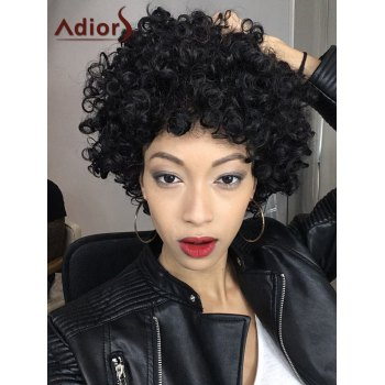 Short Adiors Shaggy Full Bang Afro Curly Synthetic Hair Wig - BLACK BLACK