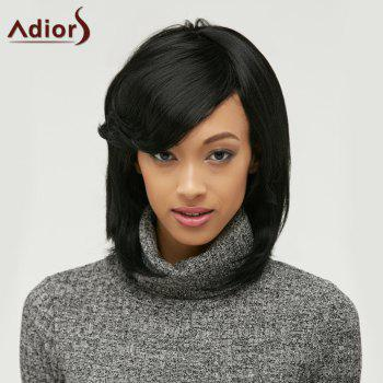 Medium Adiors Straight Side Parting Bob Synthetic Hair Wig - BLACK