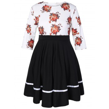 Plus Size Floral High Waisted Fare Dress