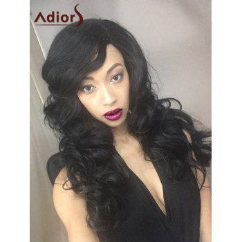 Fluffy Adiors Long Wavy Side Parting Synthetic Wig - BLACK BLACK