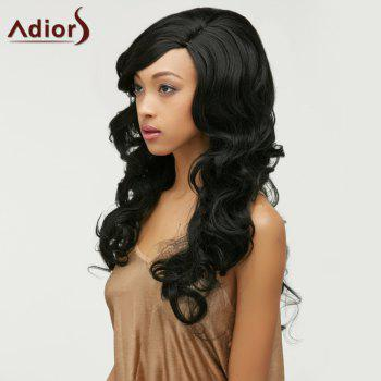 Fluffy Adiors Long Wavy Side Parting Synthetic Wig - BLACK