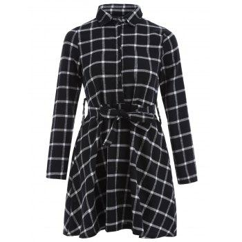 Checked Button Shirt Dress