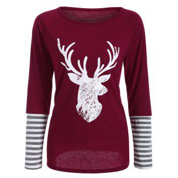 Deer Print Striped Hem T-Shirt