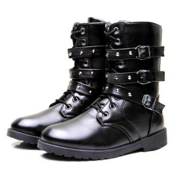 Studded Buckled Ankle Boots - BLACK 40