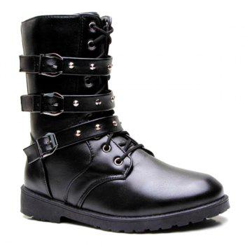 Studded Buckled Ankle Boots