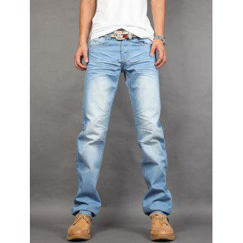 Zipper Fly Pleated Light Washed Straight Jeans