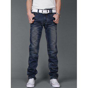 Straight Fit Zipper Fly Pleated Jeans