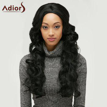 Adiors Fluffy Long Wavy Middle Parting Synthetic Wig - BLACK