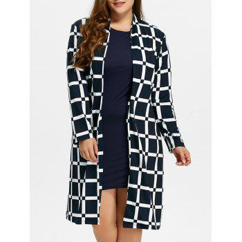 Plus Size Long Grid Coat