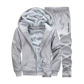 Letter Printed Zip Up Hoodie and Sweatpants