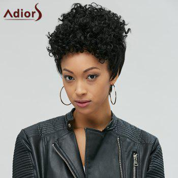 Adiors Pixie Cut Short Curly Side Bang Synthetic Wig - BLACK