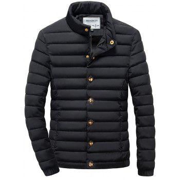 Stand Collar Zipper Up Elastic Cuff Quilted Jacket