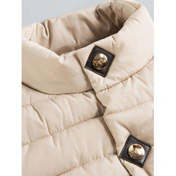 Stand Collar Zipper Up Elastic Cuff Quilted Jacket - BLUE M