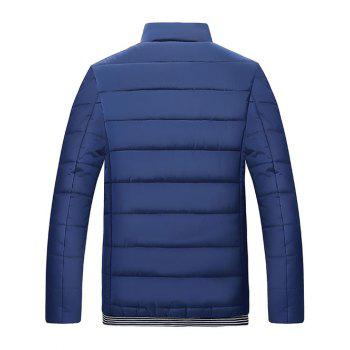 Quilted Stand Collar Zipper Up Striped Jacket - CADETBLUE M