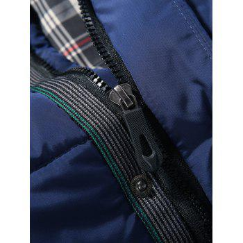 Quilted Stand Collar Zipper Up Striped Jacket - BLACK 3XL