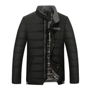 Quilted Stand Collar Zipper Up Striped Jacket