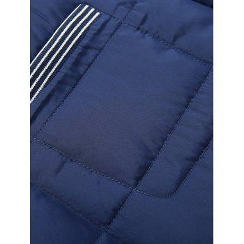 Quilted Stand Collar Zipper Up Striped Jacket - OFF WHITE L