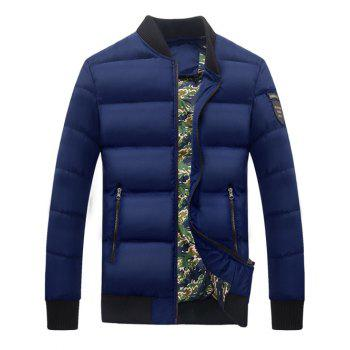Stand Collar Zipper Up Patch Quilted Jacket
